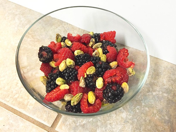 raspberries blackberries pistachios mix