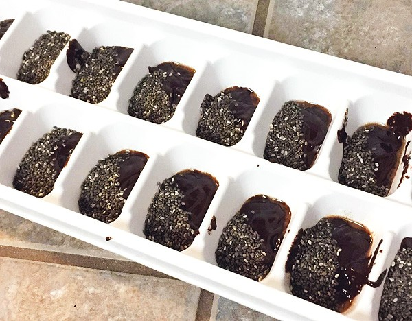 ganache chia seeds ice tray