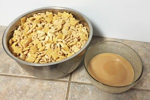 puppy chow prep chex cheerios nuts coconut oil peanut sauce
