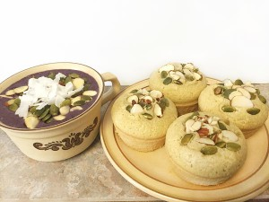 coconut muffins and smoothie bowl