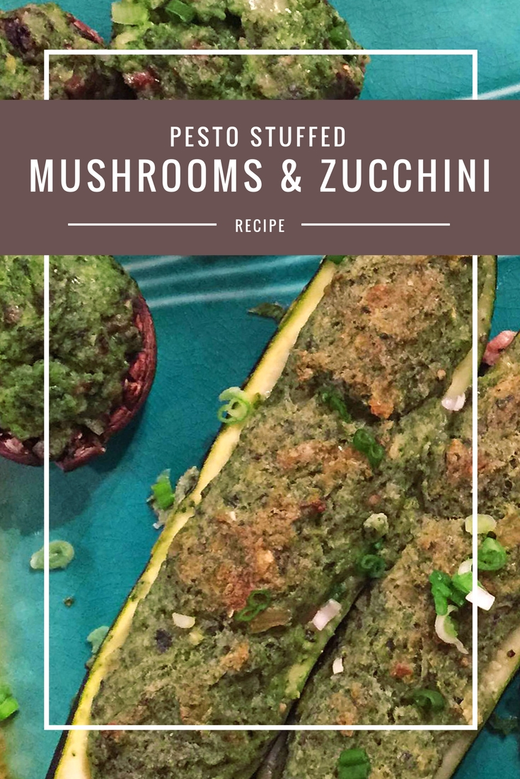 Pesto stuffed mushrooms & zucchini recipe from Body Compass Discovery's blog