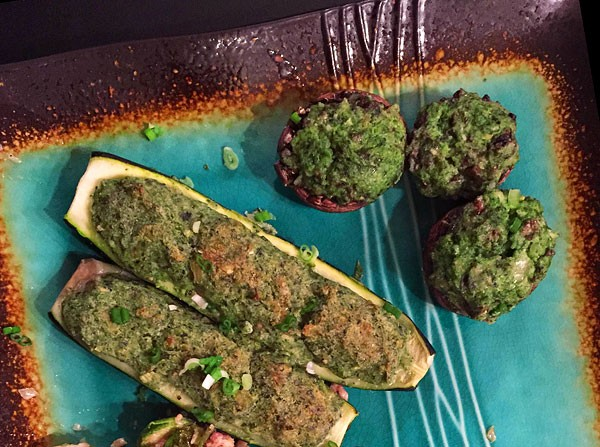 pesto stuffed mushrooms and zucchini photo