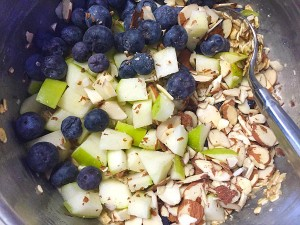 blueberries apples and almonds photo