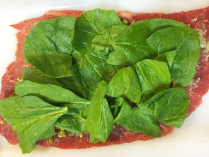 spinach layer for steak roll-ups