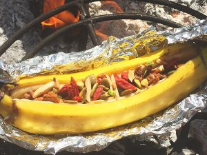 superfood banana boats cooking on campfire