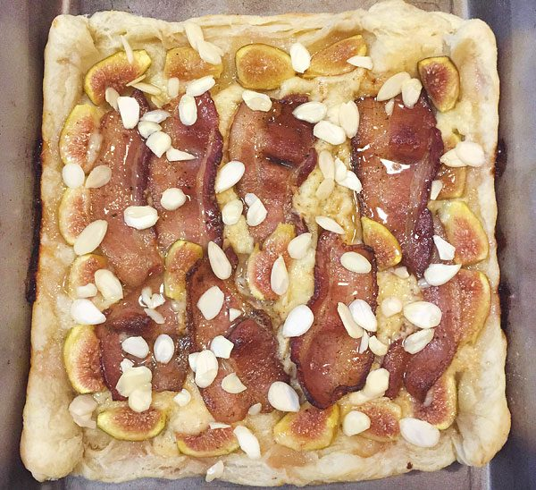 bacon and fig cheese breakfast pastry with almonds
