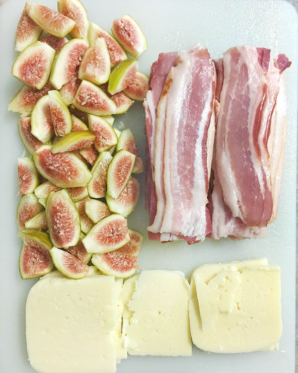 sliced bacon, fig and cheese prep