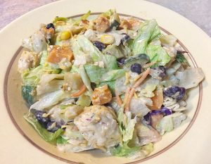 southwestern green chile chicken salad with veggies