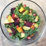 autumn fruit and veggie kale salad