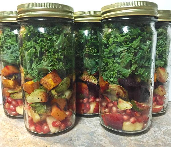 autumn kale fruit and veggie salad prep