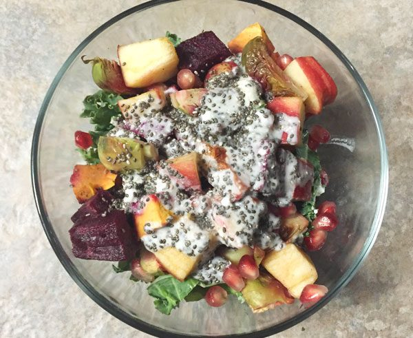 autumn kale salad with homemade dressing