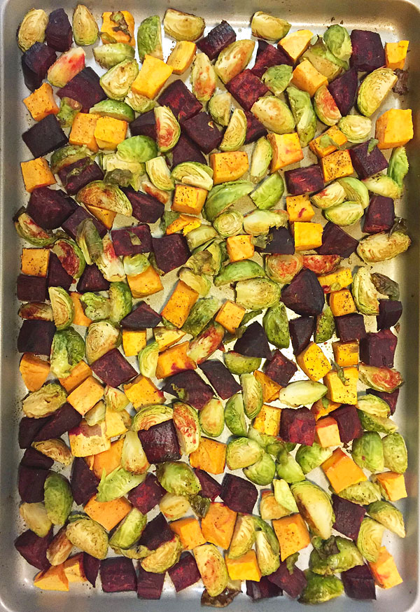 roasted sweet potatoes, brussels sprouts and beets
