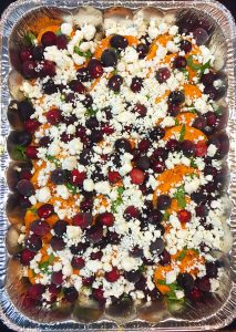 sweet potatoes with goat cheese, basil and cranberries