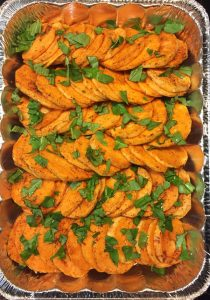 prepped sweet potatoes with herbs