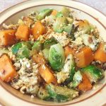 scrambled eggs with brussels sprouts & sweet potatoes