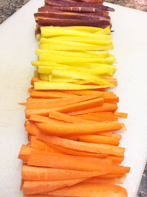 sliced rainbow carrot sticks