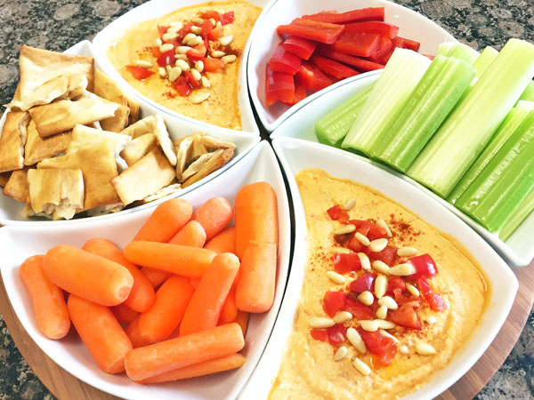 red pepper hummus dip party tray