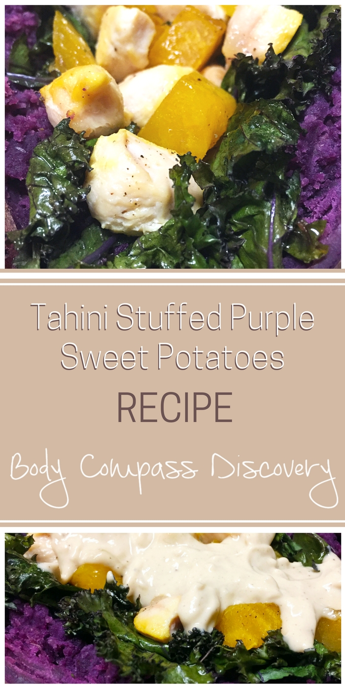 Garlic Tahini Stuffed Purple Sweet Potatoes Recipe