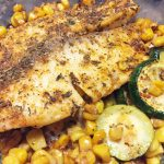 blackened tilapia with corn and zucchini