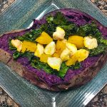 Tahini Chicken Stuffed Purple Sweet Potatoes