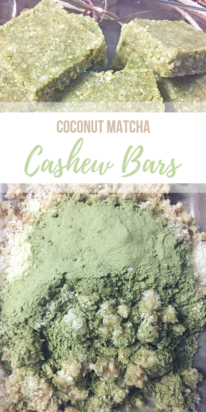 Coconut Matcha Cashew Bars Recipe