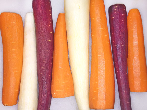 whole peeled rainbow carrots