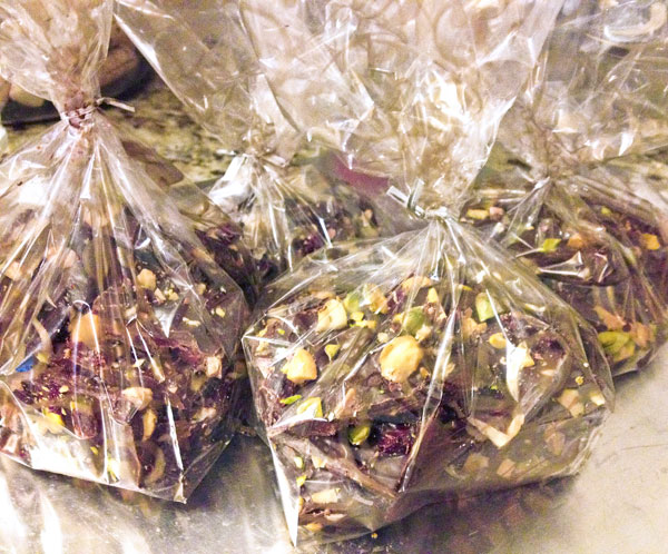 packaged homemade christmas bark for holiday gifts