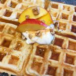 greek yogurt goji waffles with peaches