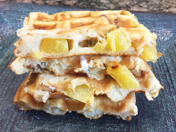 Gluten free Greek Yogurt Peach Waffles with Goji