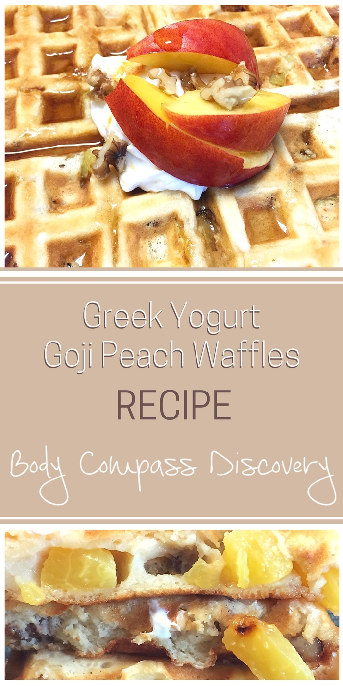 Greek Yogurt Peach Goji Waffles recipe