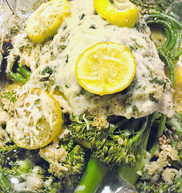 cheesy lemon herb salmon bake with broccolini