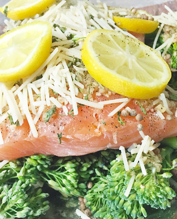 lemon herb salmon and broccolini foil packet meal