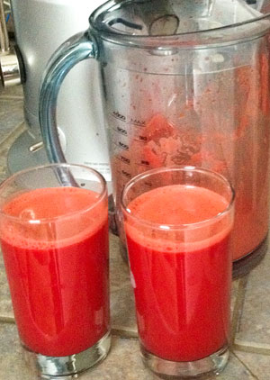 freshly squeezed sweet potato, beet and orange juice