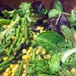 wild greens asparagus and corn summer salad