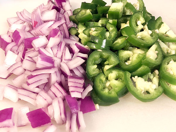 diced red onion and jalapeños