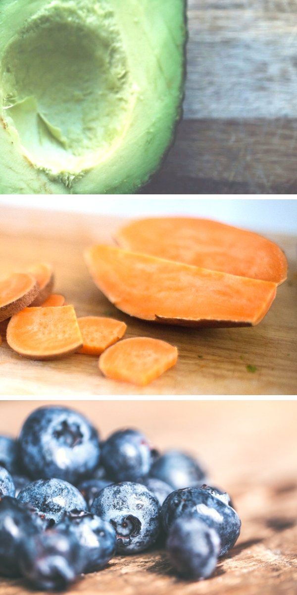 collage of fertility smoothie ingredients