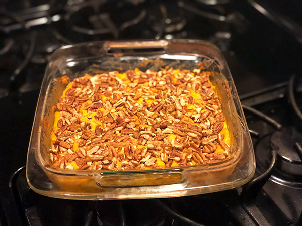Baked squash and sweet potato pecan casserole