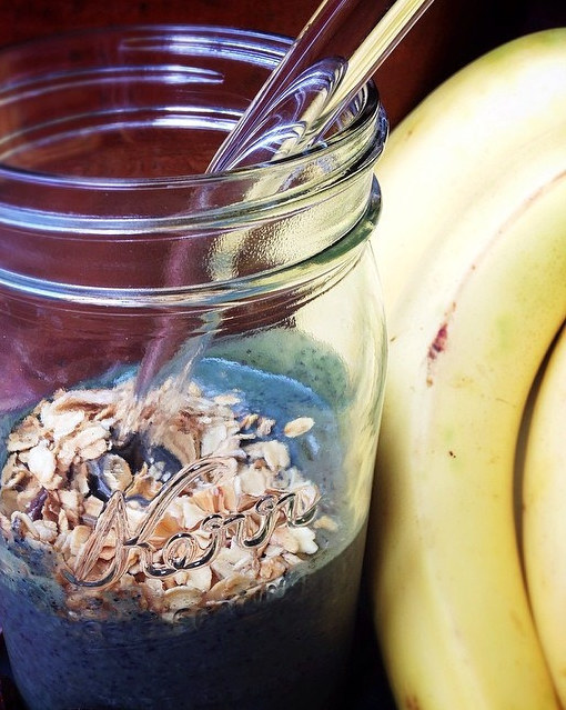 Blueberries Oats Bananas for smoothie prep