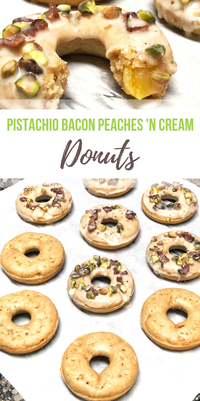Pistachio Bacon Glazed Peaches and Cream Whole Wheat Donuts recipe