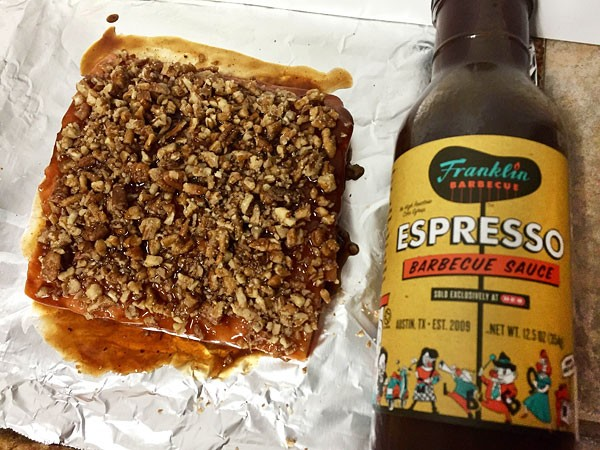 salmon with espresso bbq and honey sauce with crumbled pecans