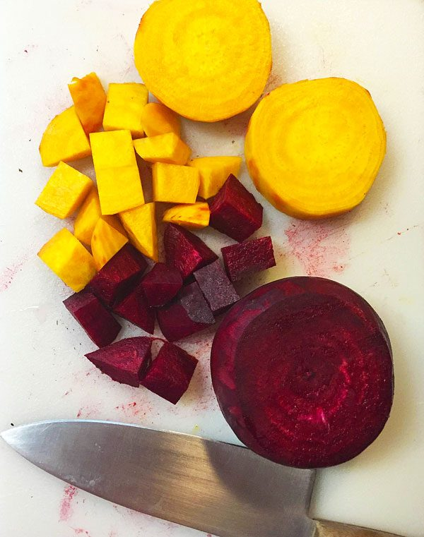 peeled and chopped beets
