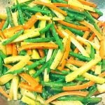 french green beans with yellow and red carrots