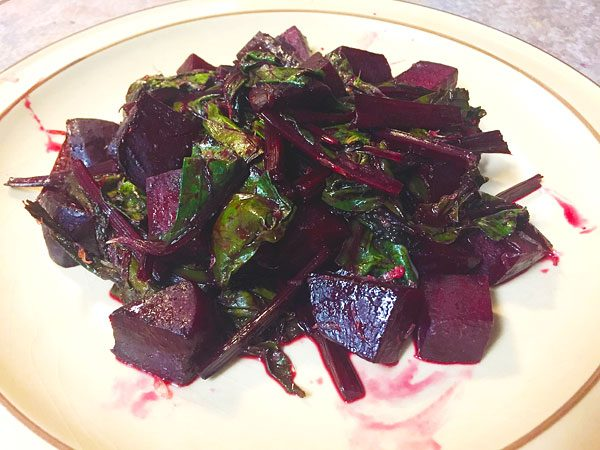sauteed citrus beets with stems and greens