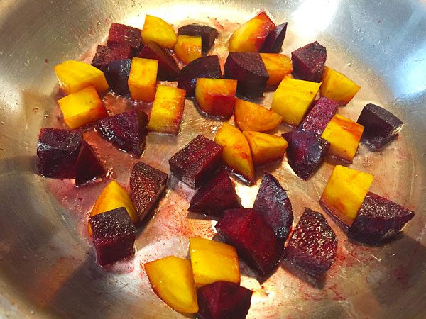 red and yellow beet sauté in coconut oil