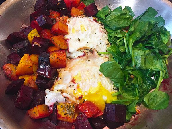skillet beets, spinach and eggs