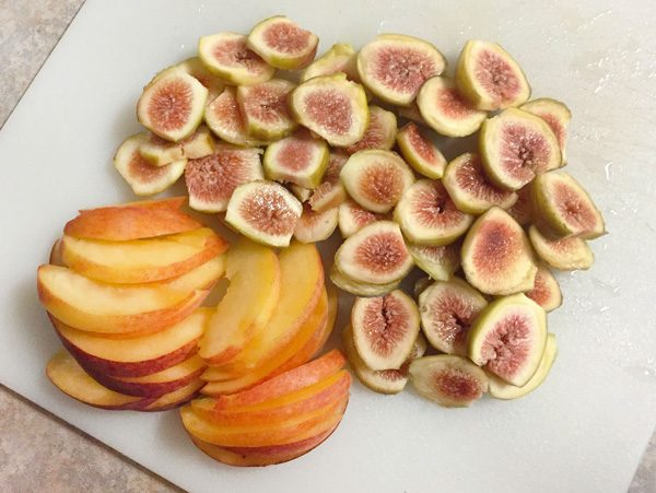 fresh figs and peaches sliced