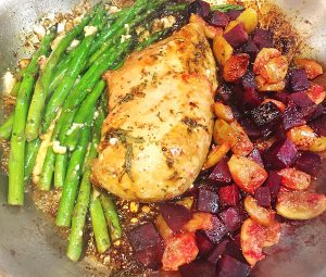 fig and beet sauté with balsamic chicken and asparagus