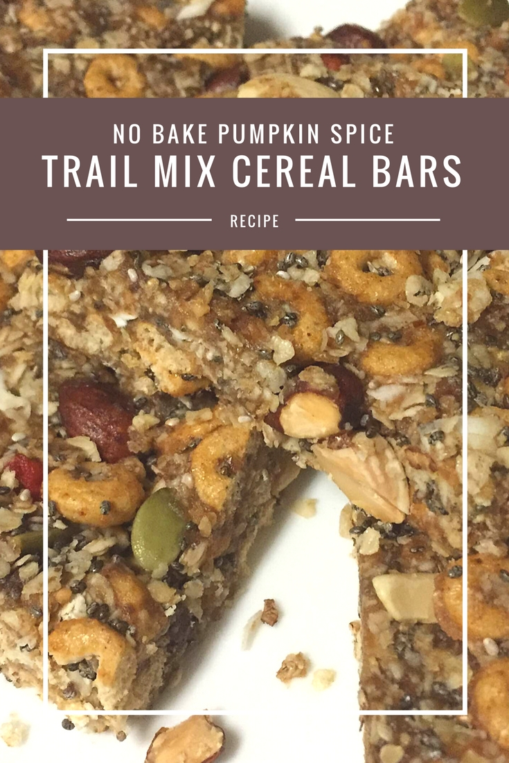 No Bake Pumpkin Spice Trail Mix Cereal Bars recipe from Body Compass Discovery's blog