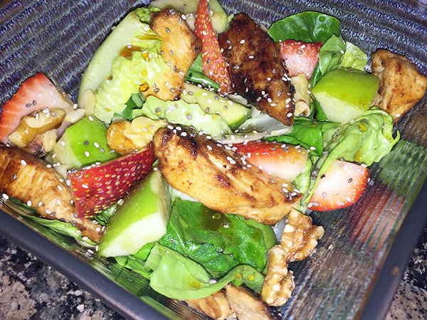 balsamic chicken fruit nut and seed salad
