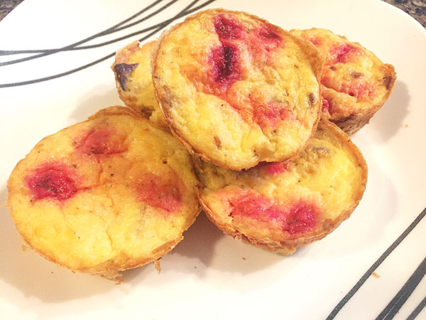 beet & bacon cheesy grits egg cups
